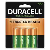 DURACELL DX1500R4 Precharged Recharg. Battery,AA,NiMh,PK4