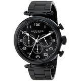 Akribos XXIV Men's AK764BK Chronograph Quartz Movement Watch with Black Dial and Black Stainless Steel Bracelet