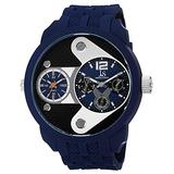 Joshua & Sons Men's Multifunction Watch - Dual Time Zone Swiss Quartz Watch On Silicone Strap - JS52RG (Blue)