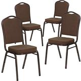 Flash Furniture 4 Pack HERCULES Series Crown Back Stacking Banquet Chair in Brown Patterned Fabric - Copper Vein Frame