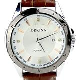 Orkina White Dial Date of Month Brown Leaher Strap Mens Wrist Watch W001-WB