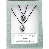 Cathedral Art (Abbey & CA Gift Heart Lockets, Grandmother and Granddaughter-Black Satin Cord