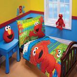 Sesame Street ABC 123 4 Piece Toddler Bedding SetPolyester in Blue/Green/Red | Wayfair 9190416