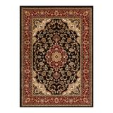 Well Woven Barclay Medallion Kashan Traditional Persian Floral Plush Area Rug, Black, 6X9FT OVAL