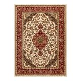 Well Woven Barclay Medallion Kashan Traditional Persian Floral Plush Area Rug, White, 6X9FT OVAL