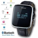 inDigi Cool OLED Display Bluetooth Smart Leather Wrist Black SmartWatch Watch Phone for Galaxy S5 Note 4 iPhone 6 Plus