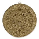 Ceramic wall plaque, 'Aztec Calendar in Brown' (small)