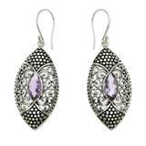 Amethyst dangle earrings, 'Elegant Origin'