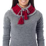 100% alpaca neck warmer, 'Flirting in Red'