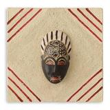 African mask plaque, 'Born on Thursday'