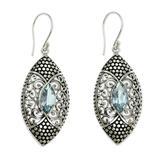 Blue topaz dangle earrings, 'Elegant Origin'