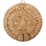 Ceramic wall plaque, 'Aztec Calendar in Brown' (medium)