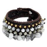 Tourmalinated quartz and labradorite wristband bracelet, 'Power of Chic'