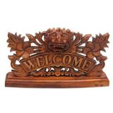 Wood welcome sign, 'Bhoma Welcome'