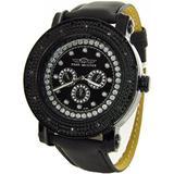 Mens King Master Genuine Diamond Watch Black Case Black Leather Band Watch KM533-1