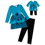 Dollie and Me Tiered Sparkle Dress and Leggings Set - Girls 4-6x, Girl's, Brt Blue