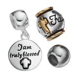 """""""Individuality Beads Sterling Silver Two Tone """"""""Faith"""""""" Bead & Disc Charm Set, Women's, Grey"""""""