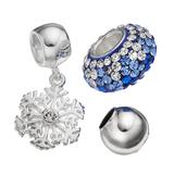 Individuality Beads Crystal Sterling Silver Bead and Snowflake Charm Set, Women's, Blue