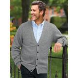 Men's John Blair® Cable Front Cardigan, Grey L Tall