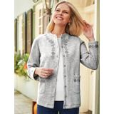 Women's Embroidered Fleece Cardigan, Heather Gray Grey L Misses
