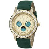 Peugeot Women Crystal Bezel Dress Watch, Day Date Moon Phase Function & Mother of Peal Dial with Roman Numeral, Green Suede Strap