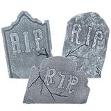 Set of 3 Large Crooked Leaning Weathered Ancient Style Tombstones Halloween Lawn Yard Decor