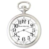 Dueber Pocket Watch with Polished Chrome Case, Large Arabic Numerals, Swiss Movement