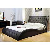 GREATIME Tufted Wave-Liked Shape Platform Bed, Eastern King Size Bed, Black Color Bed, Fully Upholstered Faux Leather Bed, Easy Assembly, with Strong Wood Slats , Contemporary Bedframe with Headboard
