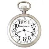 Dueber Pocket Watch with Satin Chrome Case, Large Arabic Numerals, Swiss Movement