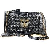 A+ Handmade Metallic Evening Bag Gold Tiger Rhinestones and Bangle Bling with Triple Option Adjustable Chain Shoulder Straps: ZH3012-PR