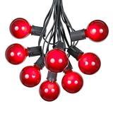 100 Foot G50 Outdoor Patio String Lights with 125 Red Globe Bulbs – Indoor Outdoor String Lights – Market Bistro Café Hanging String Lights – C9/E17 Base - Black Wire