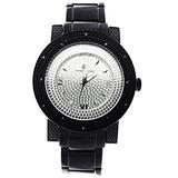 Super Techno 12 Diamonds 50mm Black Case with Silver Face Watch