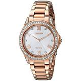 Citizen Eco-Drive Casual Quartz Womens Watch, Stainless Steel, Crystal, Pink Gold-Tone (Model: EM0233-51A)