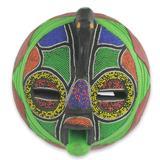 African beaded wood mask, 'Flamingo'
