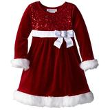 Bonnie Jean Little Girls' Sparkle Stretch Santa Dress, Red, 5