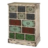 Parcel 13-Drawer Distressed Floor Cabinet, Clrs