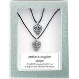 Cathedral Art, Mother and Daughter-Black Satin Cord, (Abbey & CA Gift) Heart Lockets, Includes Two 18-Inch, LS106, One Size