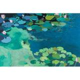 PTM Images 'Water Lilies IV' Painting Print on CanvasCanvas & Fabric in Blue/Brown, Size 24.0 H x 36.0 W x 1.5 D in   Wayfair 9-1423