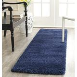 SAFAVIEH Milan Shag Collection SG180 Solid Non-Shedding Living Room Bedroom Dining Room Entryway Plush 2-inch Thick Accent Rug, 2' x 4', Navy