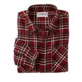Haband Long Sleeve Mens Yarn Dyed Brushed Flannel Shirt, Burgundy, Size L