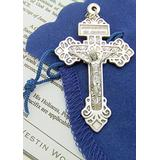 Pardon Cross 2 Inch Silver Tone Metal Catholic Crucifix Gift Set with Leaflet & Blue Gift Bag from Italy