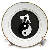 3dRose cp_180805_1 Karate Yin-Yang Sign with Men Training, Black and White-Porcelain Plate, 8-Inch