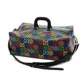 Gucci Psychedelic Black Duffle GG Large Leather Travel Luggage Backpack Italy New