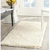 "SAFAVIEH California Premium Shag Collection SG151 Non-Shedding Living Room Bedroom Dining Room Entryway Plush 2-inch Thick Accent Rug, 2'3"" x 5', Ivory"