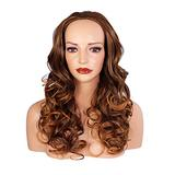 Ladies 3/4 Half Wig - Brown/Auburn Tips - Curly - 22in / 56cm - 250g - Japanese Heat Resistant Synthetic Fibre - Clip In Hairpiece Extension - Looks and Feels like Real Hair