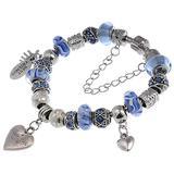 "RUBYCA Silver Tone European Charm Bracelet 7.9"" Blue Murano Glass Beads DIY Jewelry Making Kit 6"