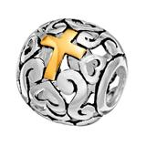 Individuality Beads Sterling Silver and 14k Gold Over Silver Openwork Heart and Cross Spacer Bead, Women's, Multicolor