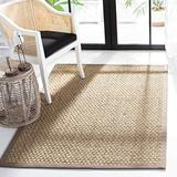 Safavieh Natural Fiber Collection NF114P Border Basketweave Seagrass Area Rug, 8' x 8' Square, Grey