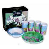 MotorHead Products Flower Decor Melamine 12 Piece Dinnerware Set, Service for 4 Melamine in Blue/Green/Indigo | Wayfair JQ-61113