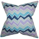 The Pillow Collection Achsah Zigzag Cotton Throw Pillow Polyester/Polyfill/Cotton in Blue, Size 20.0 H x 20.0 W x 5.0 D in | Wayfair
